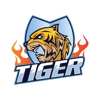 Illustration de l'insigne du logo de l'équipe sportive tiger moderne