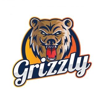 Illustration de l'insigne de l'équipe sportive grizzly ours moderne