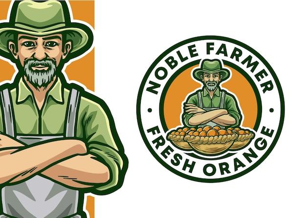 Illustration d'insigne de logo de mascotte d'agriculteur