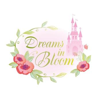 Illustration d'insigne de rêves en fleur avec château de palais et conception de princesse de conte de fées