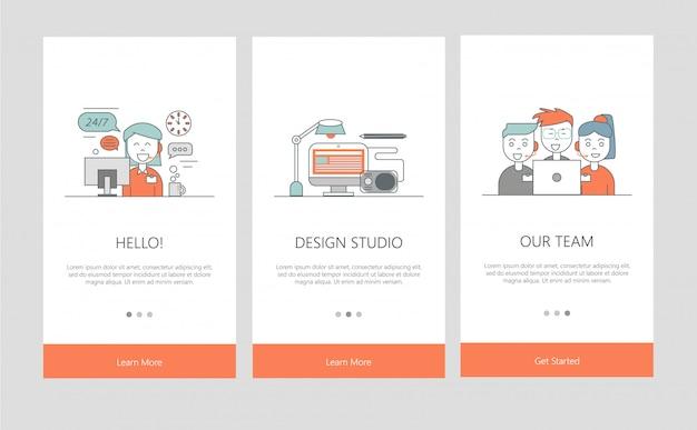 Illustration de l'intégration des écrans d'application dans le style de ligne.