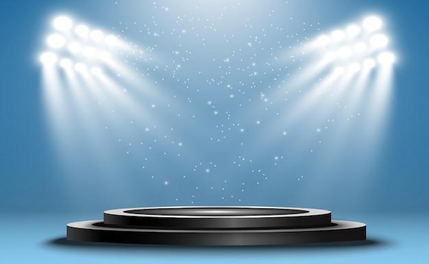 Illustration de l'intérieur du studio lightbox. podium avec projecteurs.