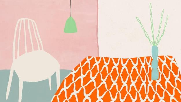 Illustration de l'intérieur de la maison dessiné à la main mignon vecteur de papier peint table de cuisine