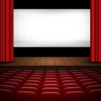 Illustration de l'intérieur d'une salle de cinéma avec rideaux rouges, rangées de sièges, scène en bois