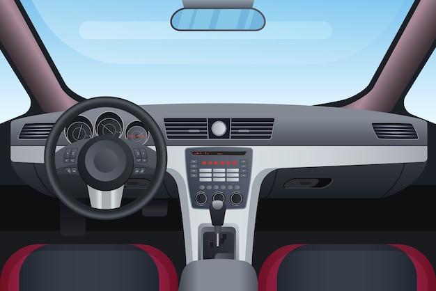 Illustration intérieure automobile noir et rouge.