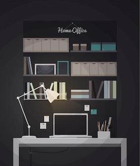 Illustration intérieure de bureau à domicile plat avec bureau