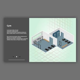 Illustration intérieure isométrique de gym