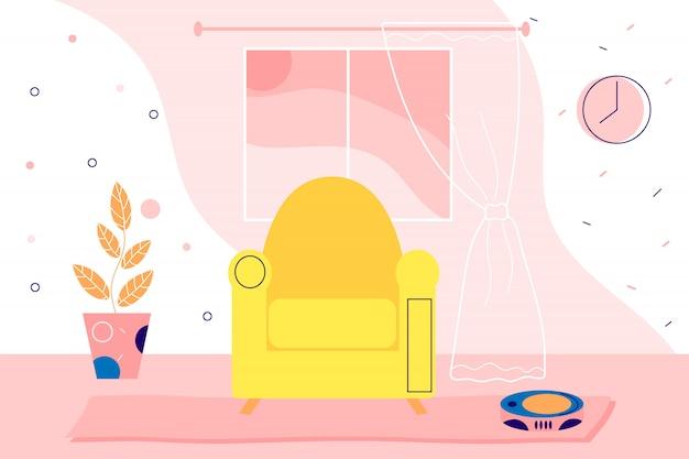Illustration intérieure plate de la maison. passer du temps à la maison en quarantaine. illustration de dessin animé web