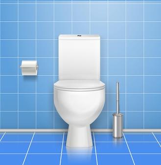 Illustration intérieure de toilettes publiques