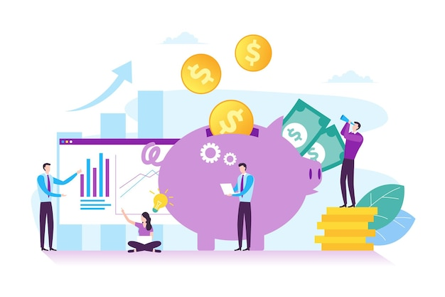 Illustration de l'investissement commercial et du concept financier dans un design plat moderne