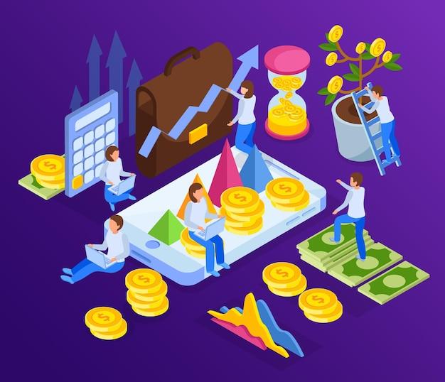 Illustration d'investissement avec des flèches d'argent et des personnages humains avec smartphone et verre de sable