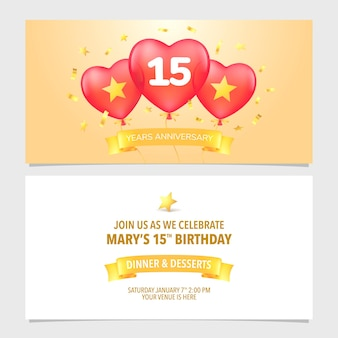Illustration d'invitation anniversaire 15 ans