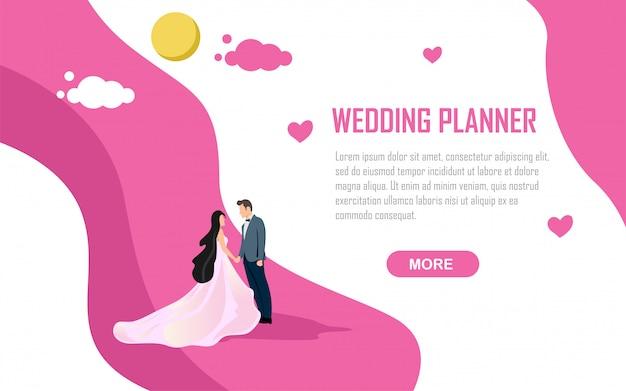 Illustration d'invitation planificateur de mariage romance