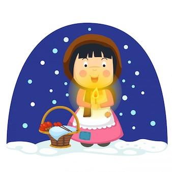 Illustration d'isolé le conte de fées de petite fille d'allumette