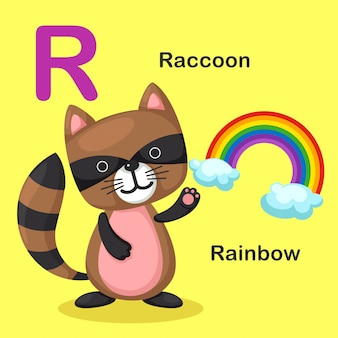 Illustration isolé lettre alphabet animal r-arc-en-ciel, raton laveur