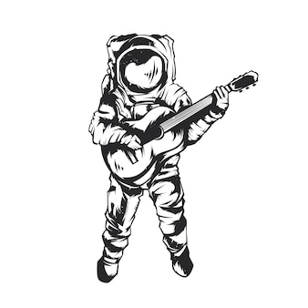 Illustration isolée de l'astronaute avec guitare