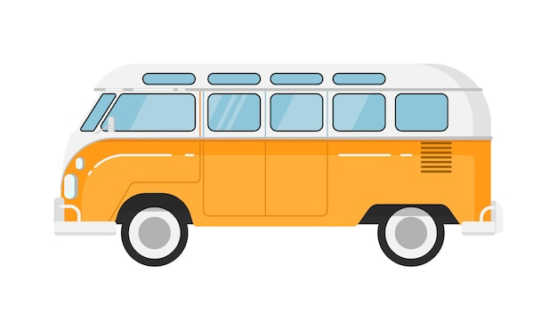 Illustration isolée d'autobus rétro classique