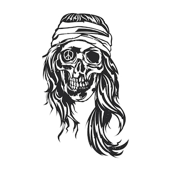 Illustration isolée de hippie mort