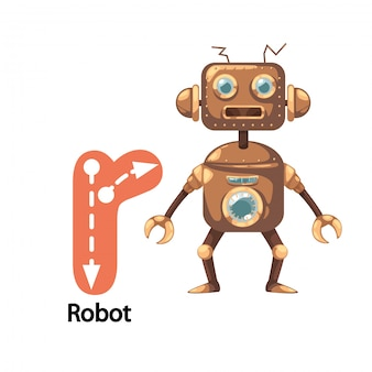 Illustration isolée lettre alphabet r-robot
