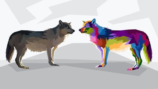 Illustration isolée de portrait pop art loup coloré