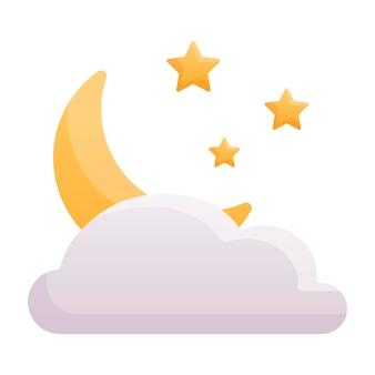 Illustration isolée simple de dessin animé de vecteur. icône de lune ou autocollant avec étoiles et nuage sur fond blanc. décoration bébé sur le thème de l'heure du sommeil.