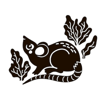 Illustration isolée de souris. noir et blanc