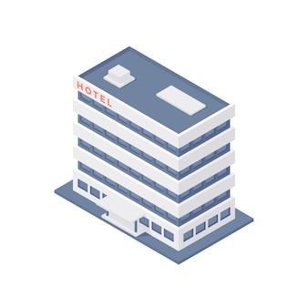 Illustration isométrique 3d du bâtiment de l'hôtel à plusieurs étages de dessin animé
