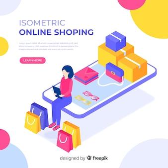 Illustration isométrique des achats en ligne