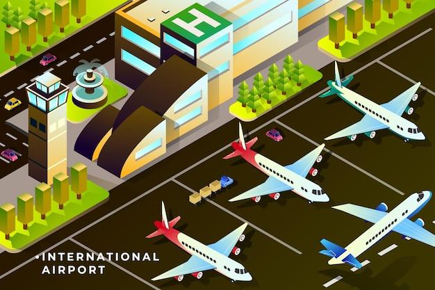 Illustration isométrique de l'aéroport international