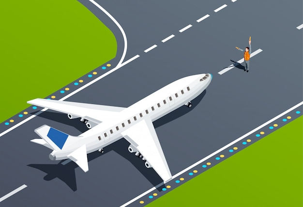 Illustration isométrique d'aéroport