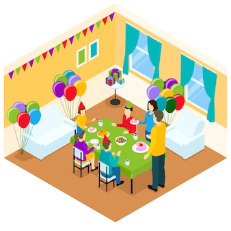 Illustration isométrique d'anniversaire