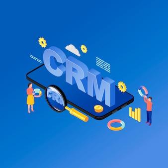 Illustration isométrique de l'application crm pour smartphone