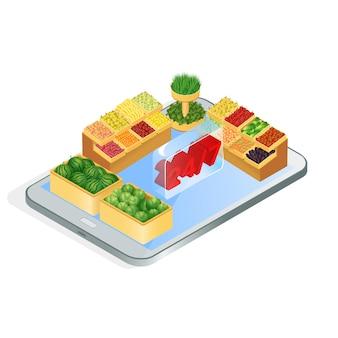Illustration isométrique de l'application d'épicerie en ligne