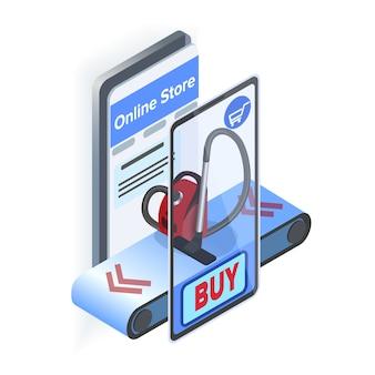Illustration isométrique de l'application internet store mobile app