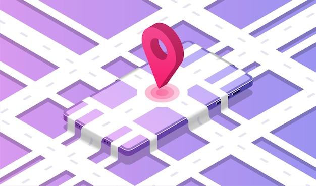 Illustration isométrique de l'application de livraison navigation en ligne mondiale infographie de suivi de livraison