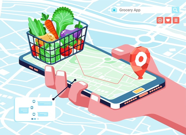 Illustration isométrique de l'application de magasinage en ligne d'épicerie, avec des produits d'épicerie dans le panier, la carte et le téléphone