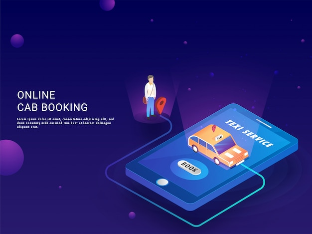 Illustration isométrique de l'application de réservation de taxi.