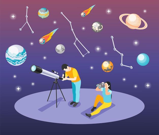 Illustration isométrique de l'astronomie