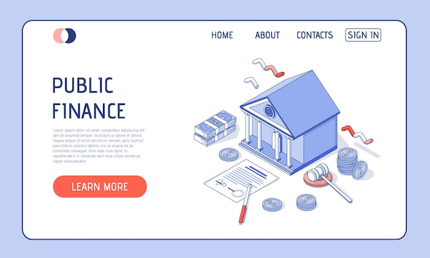 Illustration isométrique. bâtiment bancaire sur fond blanc avec de l'argent, des documents financiers et des pièces de monnaie.
