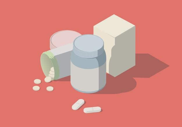 Illustration isométrique avec des bouteilles et des pilules.