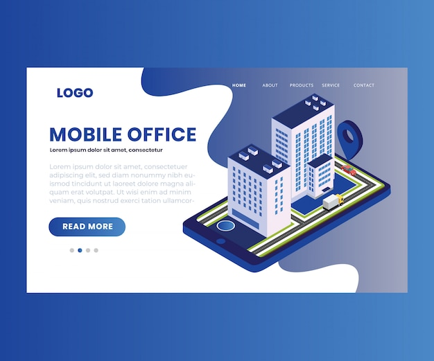 Illustration isométrique d'un bureau mobile en ligne