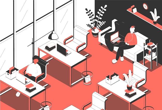 Illustration isométrique de bureau