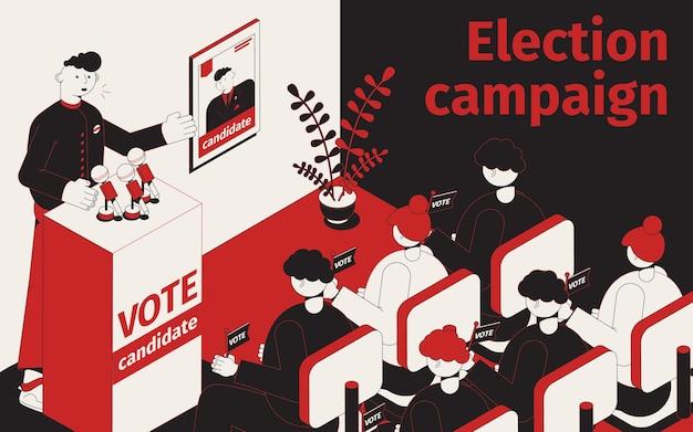 Illustration isométrique de la campagne électorale