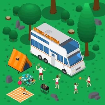 Illustration isométrique de camping