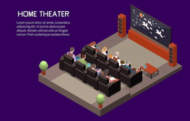 Illustration isométrique de cinéma avec texte modifiable et composition du système audio et de l'auditorium de l'écran de télévision domestique