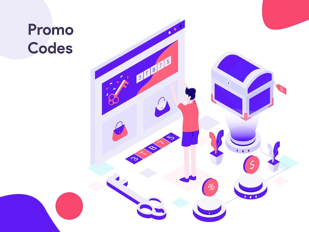 Illustration isométrique des codes promotionnels en ligne