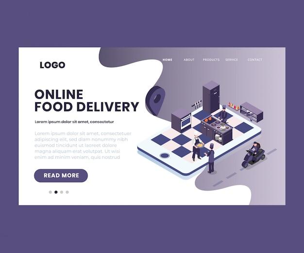 Illustration isométrique de la commande de nourriture en ligne
