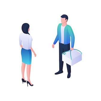 Illustration isométrique des commandes rapides de courrier de livraison. le personnage masculin se tient avec des poignées de boîte blanche et a une conversation sur le paiement avec une femme. concept de produits logistiques de haute qualité.