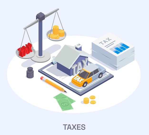 Illustration isométrique de la comptabilité des impôts