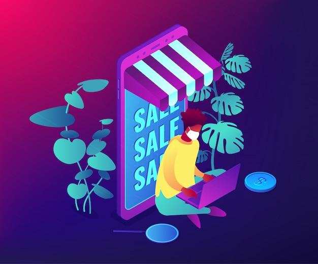 Illustration isométrique de concept de magasinage en ligne.